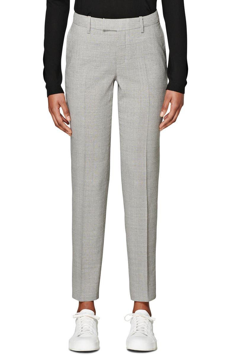 SUISTUDIO Robin Classic Wool Trousers, Main, color, LIGHT GREY