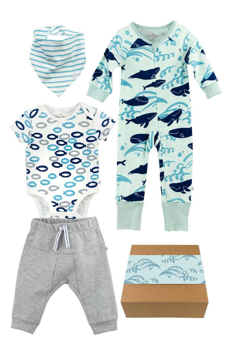 OLIVER & RAIN Organic Cotton Bandana Bib, Bodysuit, Sweatpants & One-Piece Gift Set, Main, color, BLUE