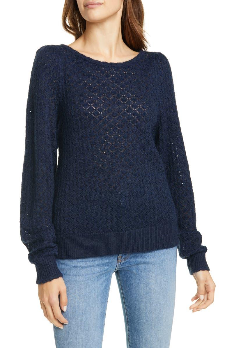 JOIE Moxya Pointelle Puff Sleeve Sweater, Main, color, MIDNIGHT