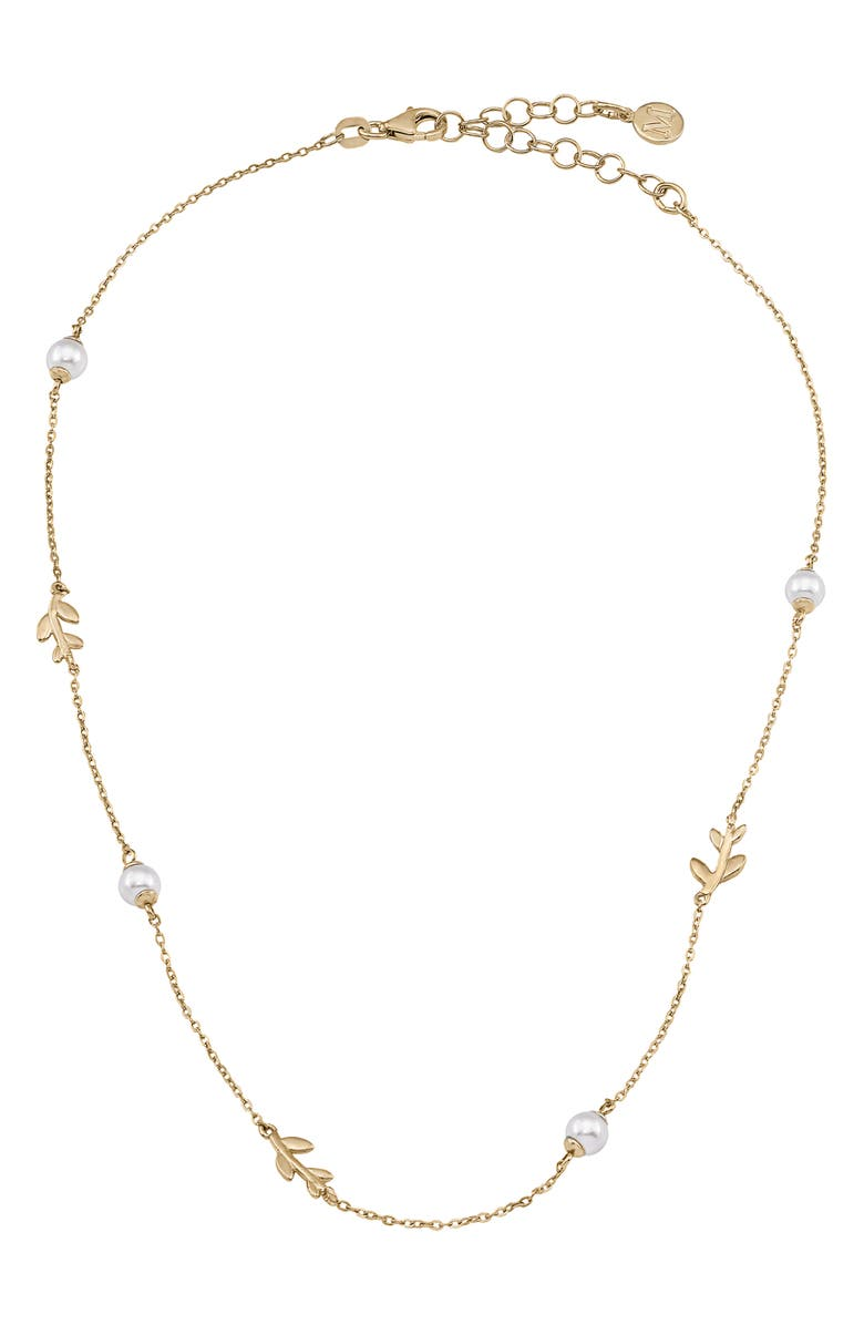 MAJORICA Simulated Pearl Vine Necklace, Main, color, GOLD