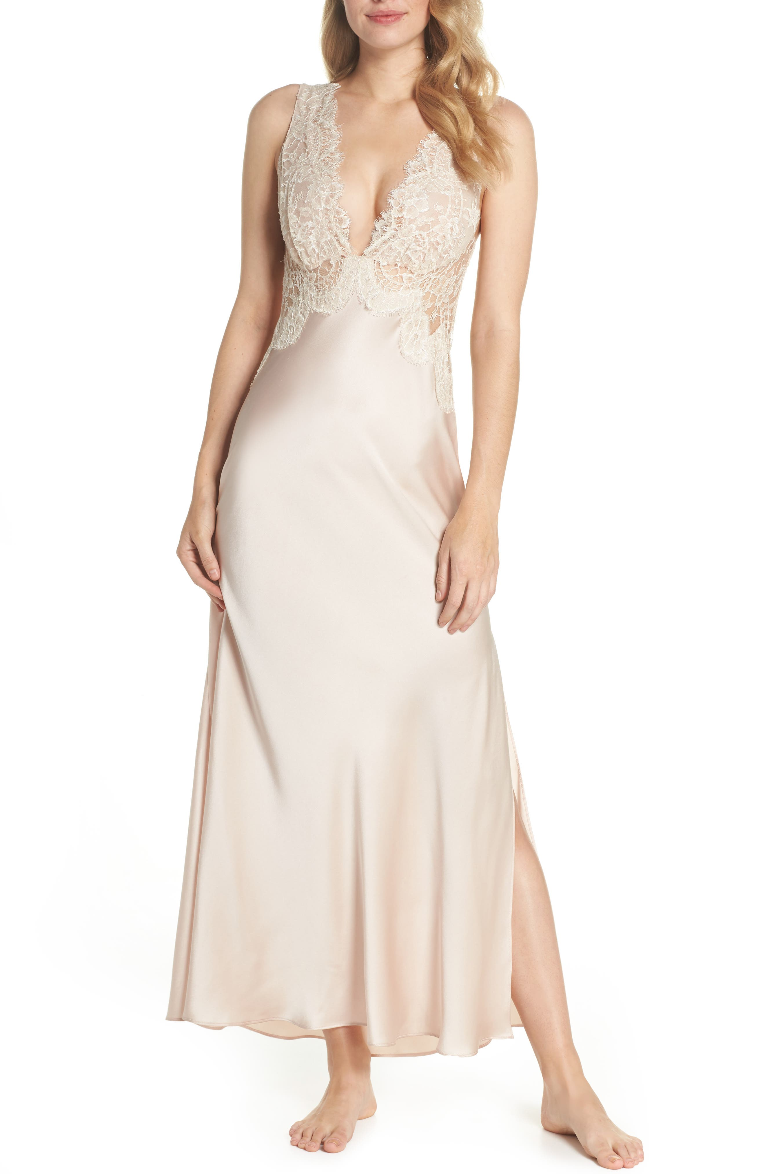 Christine Lingerie Lace Trim Silk Nightgown, Size Petite - Pink