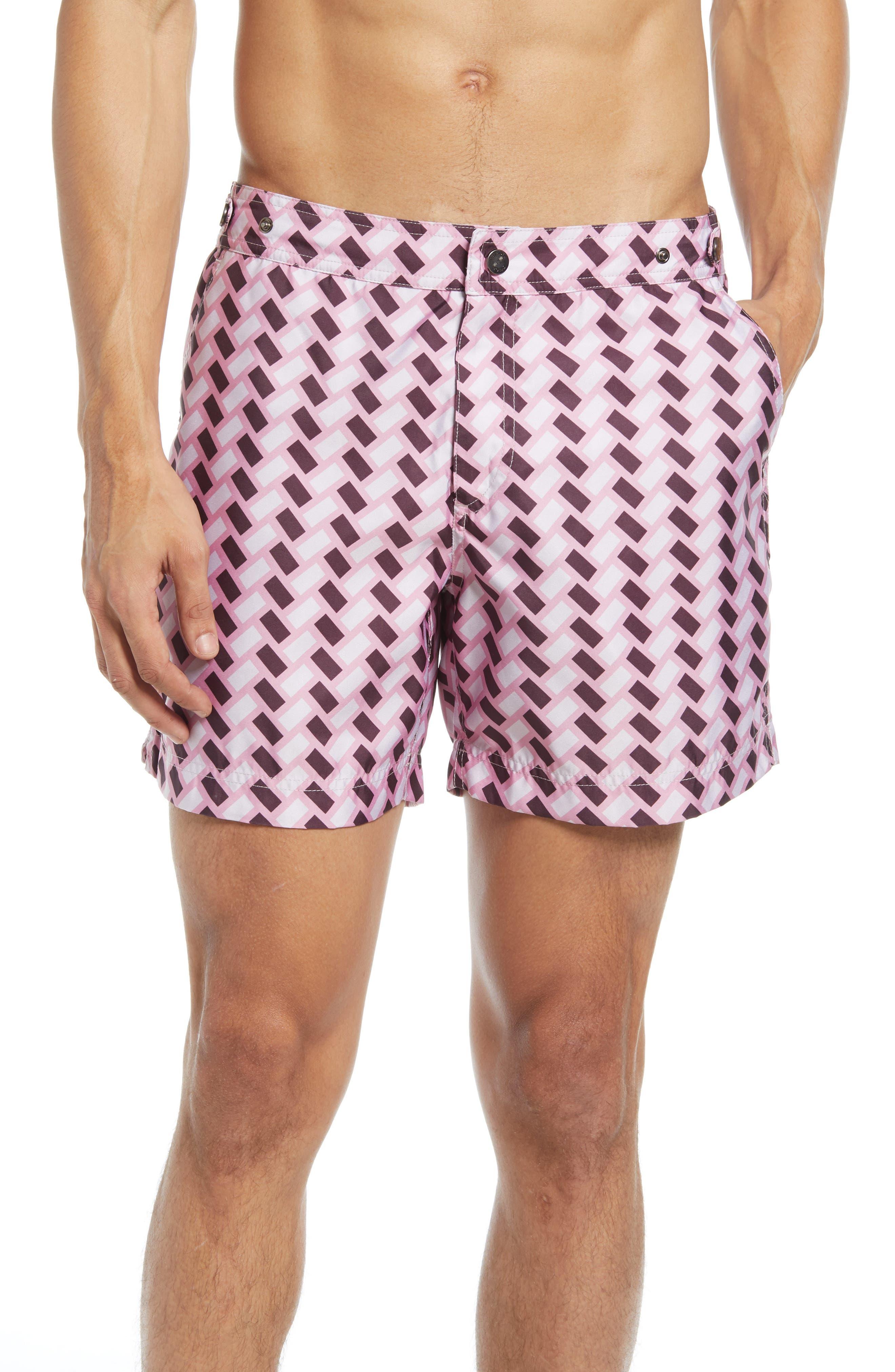 Vintage Men's Swimsuits – 1930s, 1940s, 1950s History Mens Prince  Bond Retro Tile Print Hybrid Nylon Swim Trunks Size 38 - Pink $175.00 AT vintagedancer.com