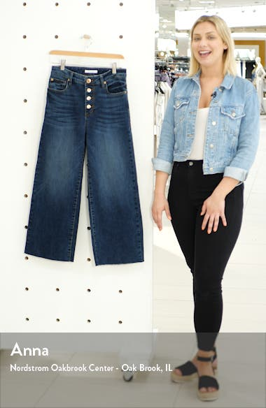 Button Fly Wide Leg Crop Jeans, sales video thumbnail