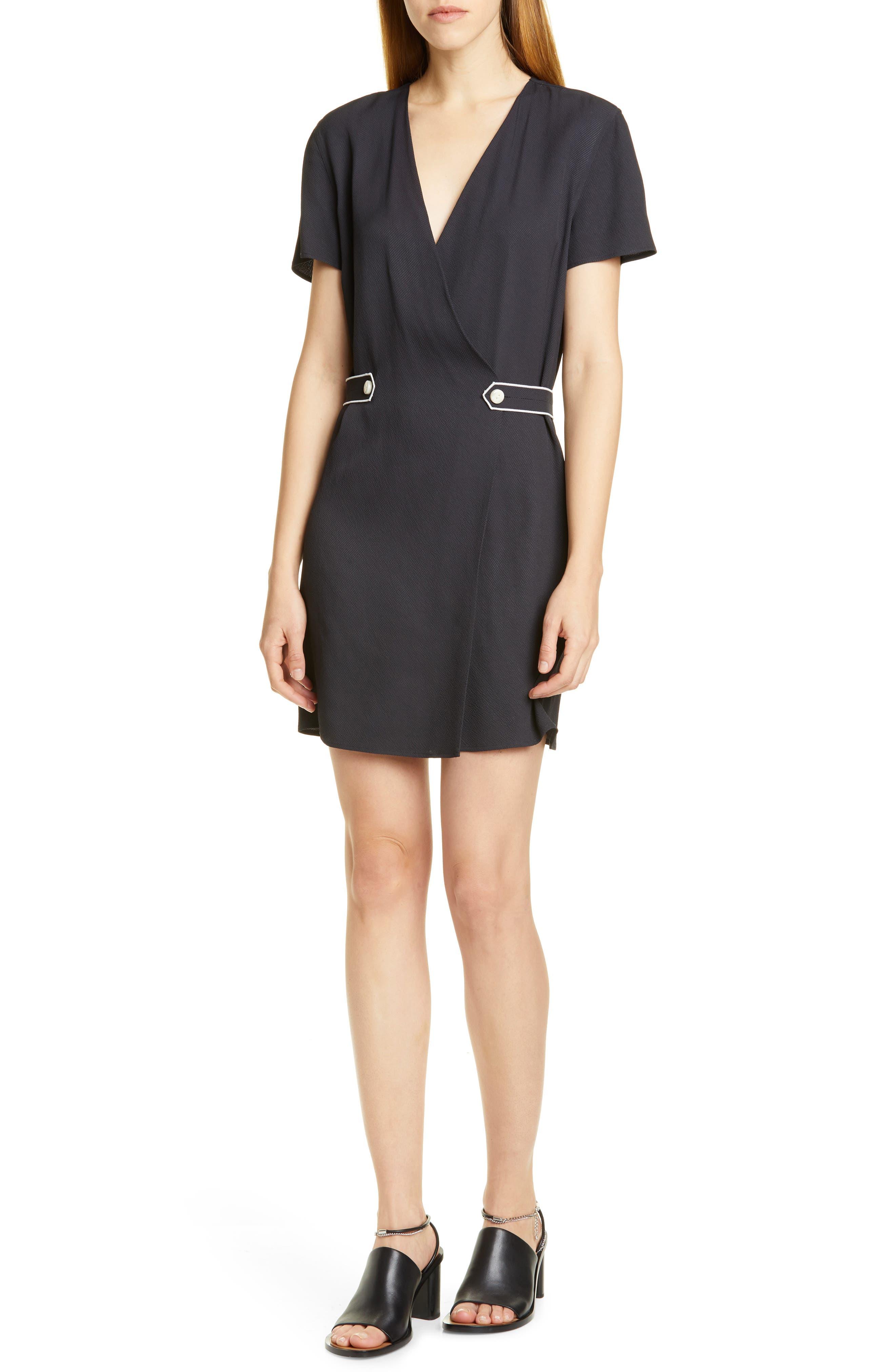 Rag & Bone Tabitha Button Tab Minidress, Black