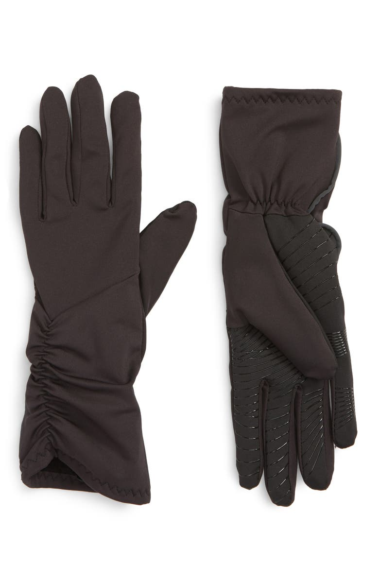 U|R Side Ruched Stretch Touchscreen Compatible Gloves, Main, color, 001