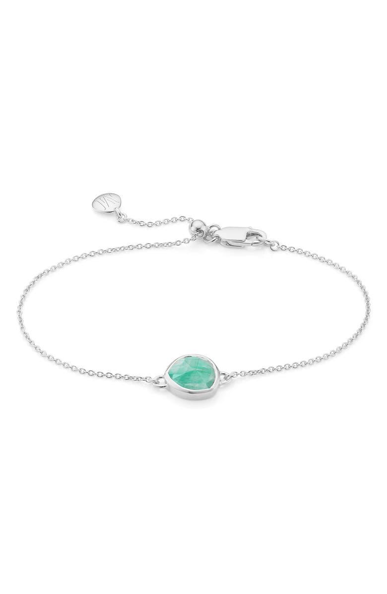 MONICA VINADER Siren Semiprecious Stone Bracelet, Main, color, SILVER/ AMAZONITE