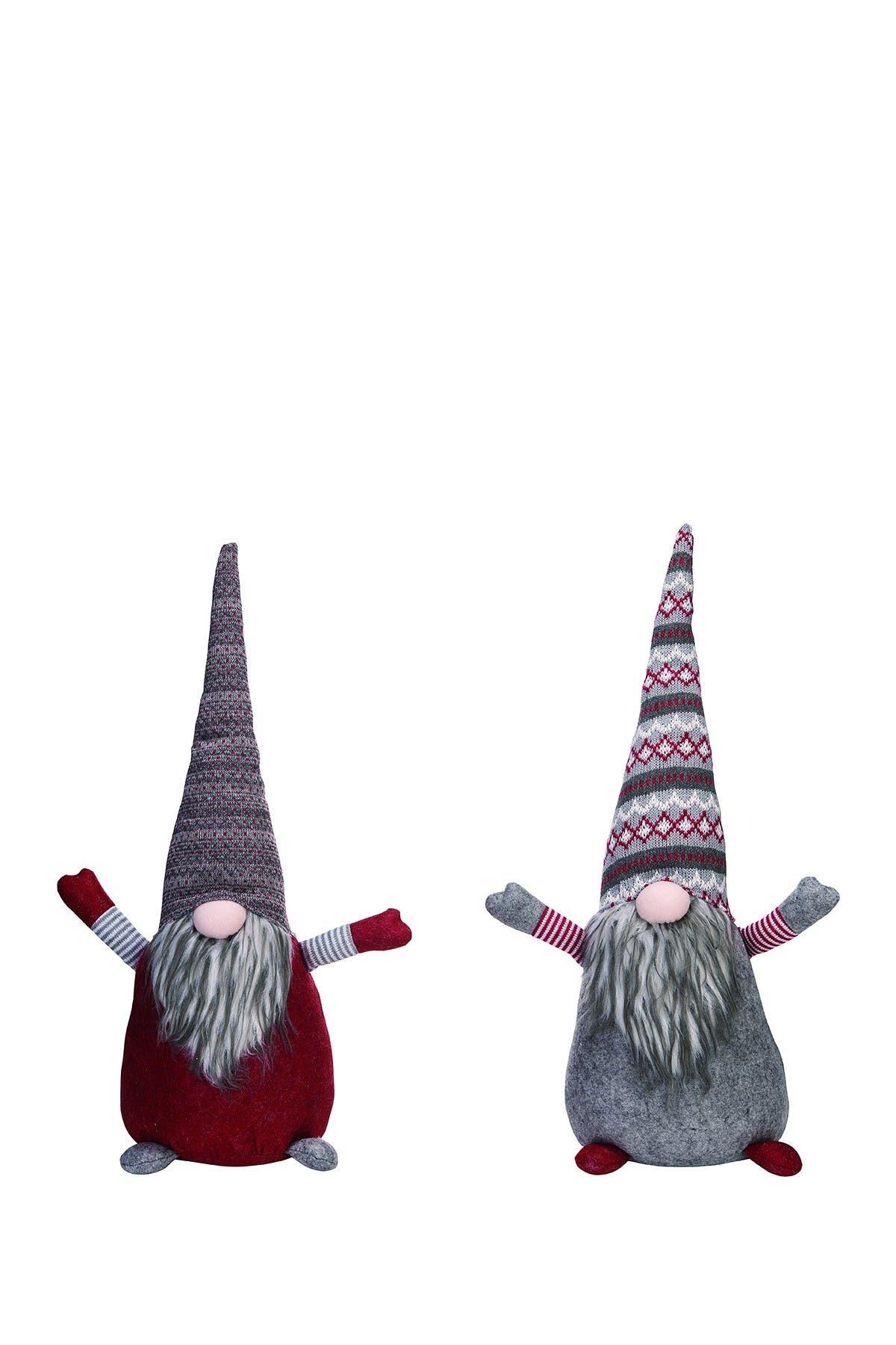 """Image of Transpac 18"""" Plush Christmas Gnome Door Stop 2-Piece Set"""