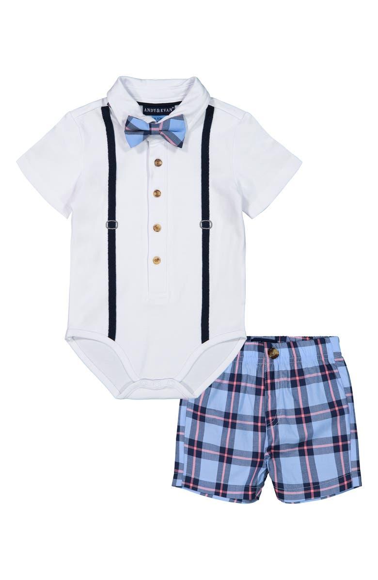 ANDY & EVAN Polo Shirtzie Bodysuit & Shorts Set, Main, color, WHITE