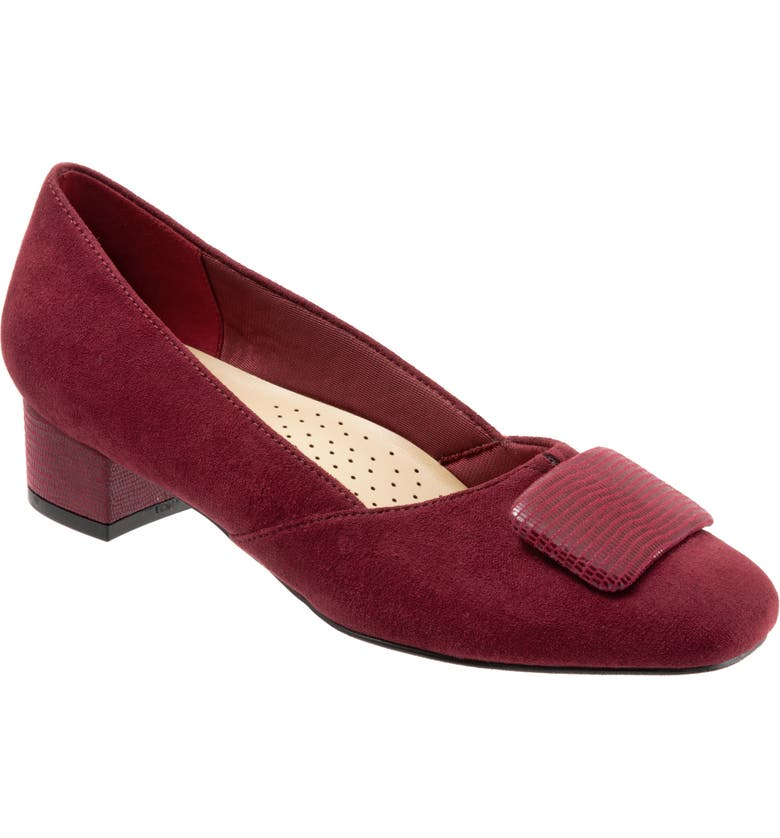 TROTTERS Delse Pump, Main, color, DARK RED FAUX LEATHER