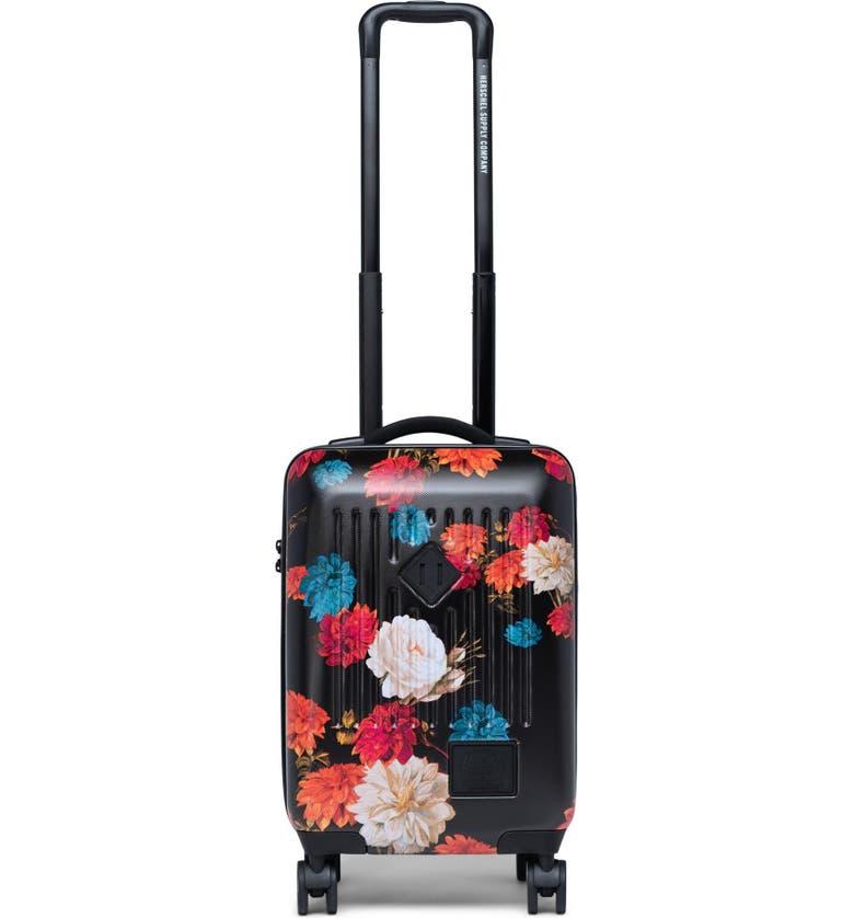 HERSCHEL SUPPLY CO. Trade 21-Inch Wheeled Carry-On Bag, Main, color, VINTAGE FLORAL BLACK