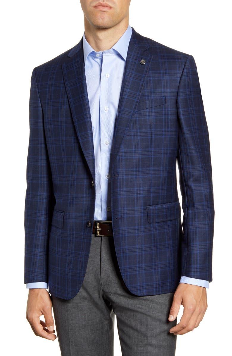 TED BAKER LONDON Jay Trim Fit Plaid Sport Coat, Main, color, BLUE