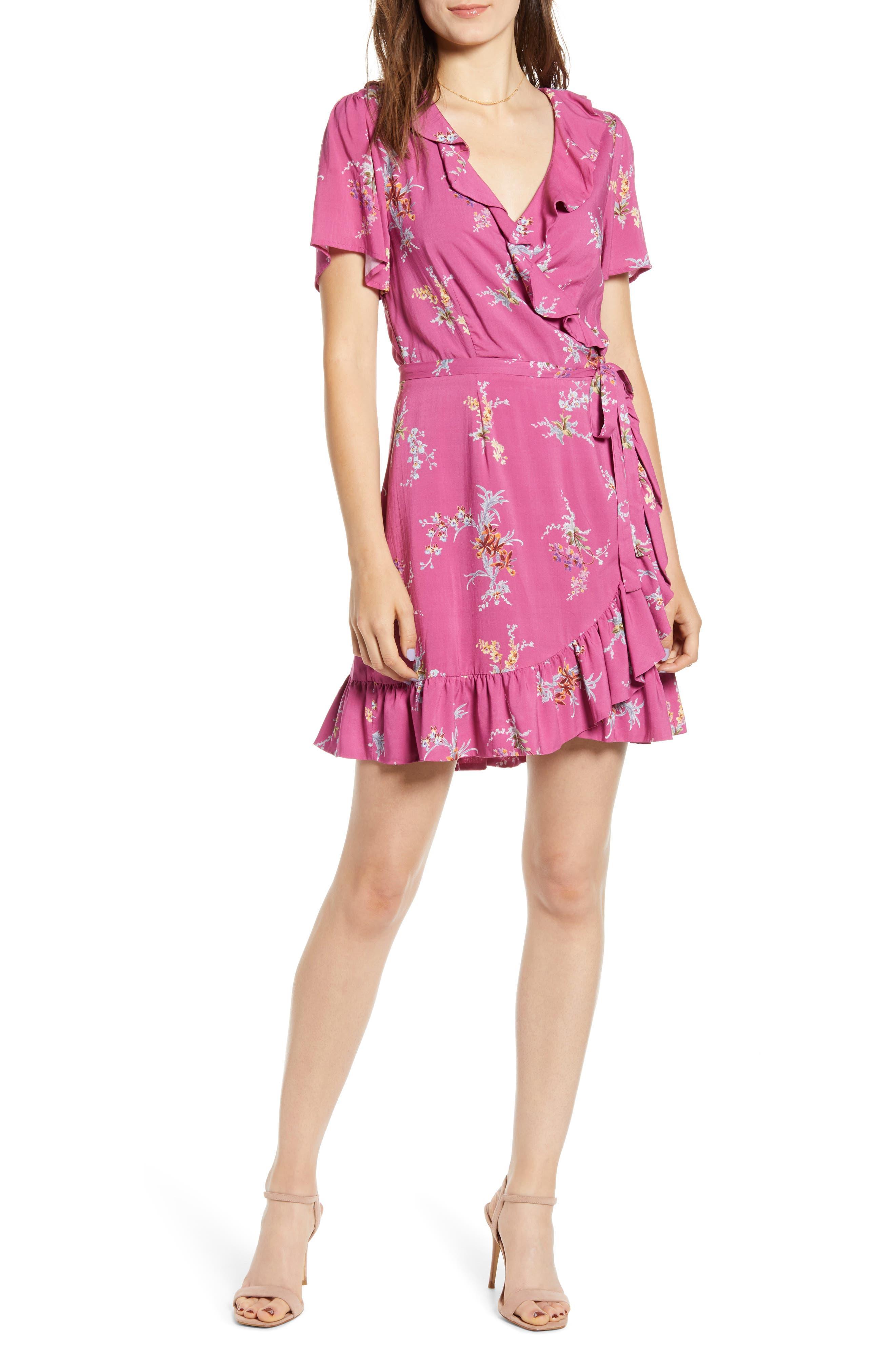 Paige Cardamom Wrap Dress, Pink