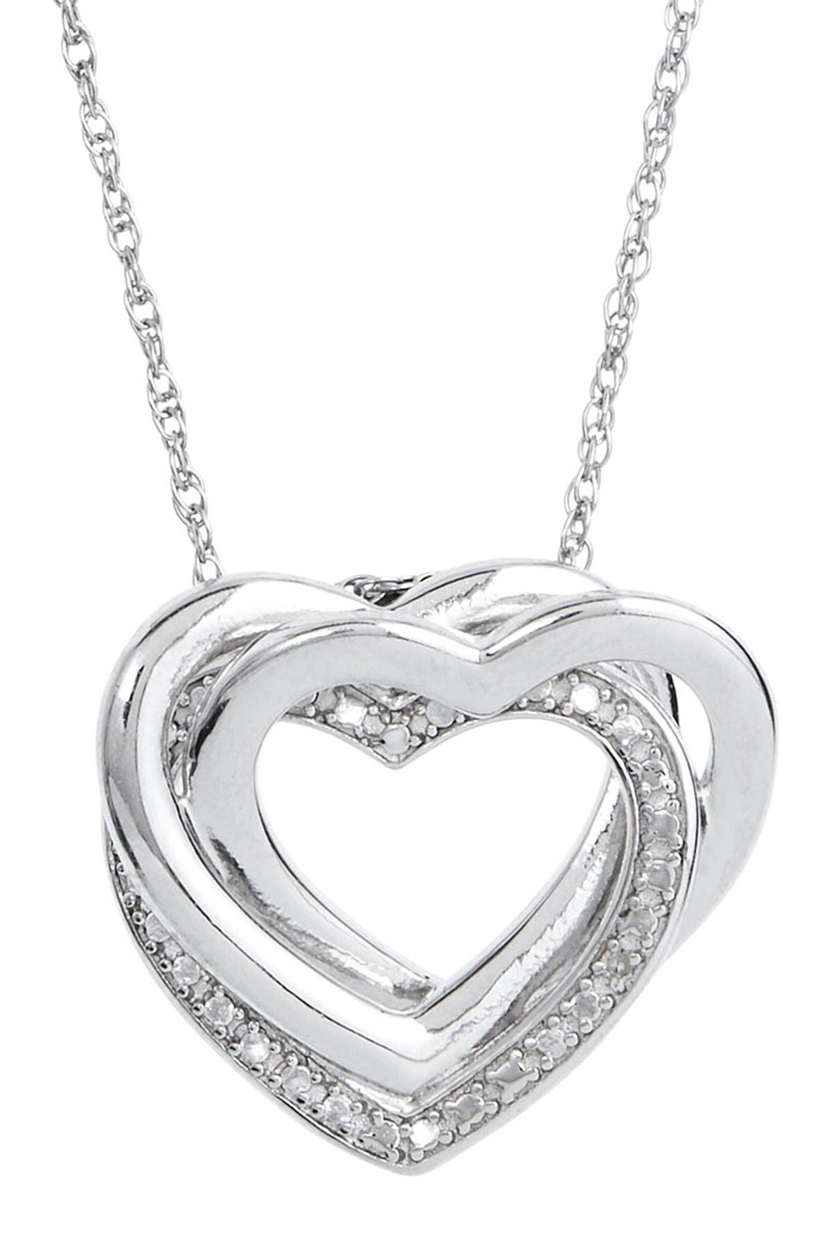 Image of Savvy Cie Sterling Silver Diamond Interlocking Necklace - 0.01 ctw
