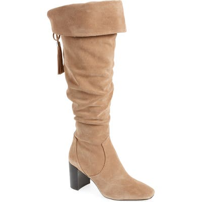 Karl Lagerfeld Paris Razo Tassel Knee High Boot, Beige