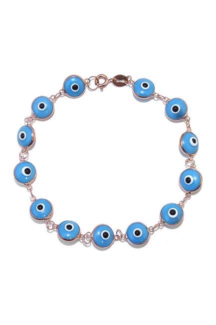 Image of Savvy Cie 18K Rose Gold Vermeil Evil Eye Bracelet