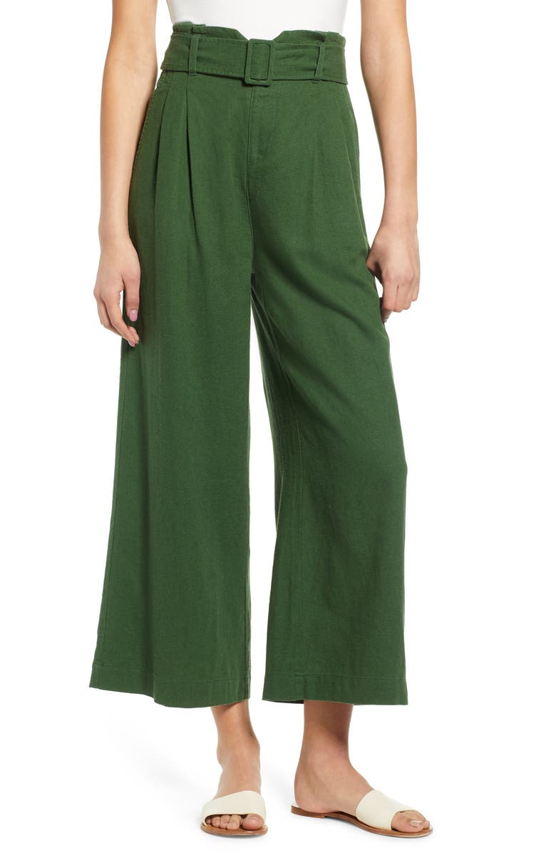 BP. Belted Wide Leg Linen Blend Pants, Main, color, 301