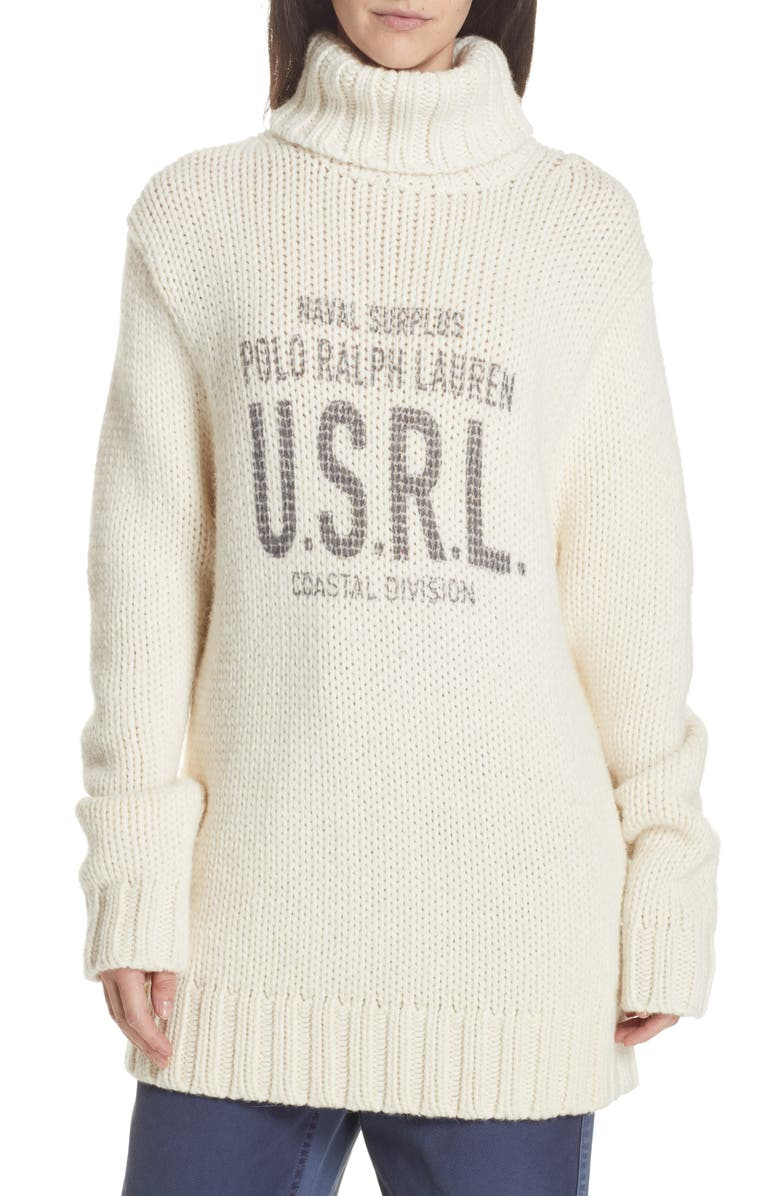 POLO RALPH LAUREN Logo Graphic Turtleneck Sweater, Main, color, 900