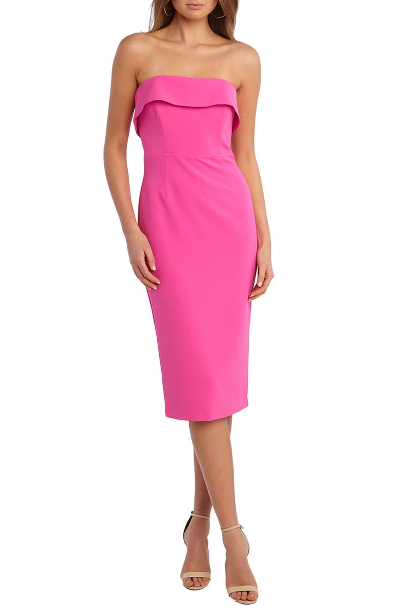 BARDOT Georgia Strapless Dress, Main, color, PINK SHOCK
