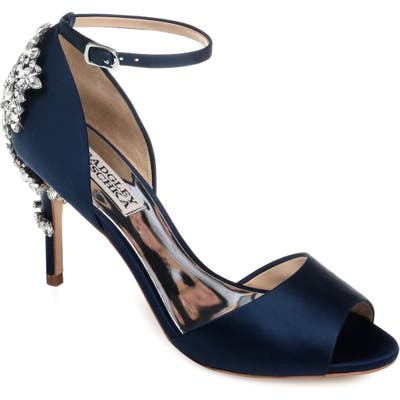Badgley Mischka Vienna Crystal Embellished Ankle Strap Pump, Blue