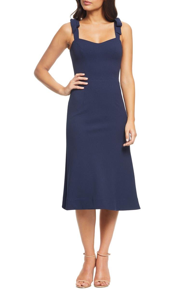 DRESS THE POPULATION Hana Tie Shoulder Cocktail Dress, Main, color, MIDNIGHT BLUE