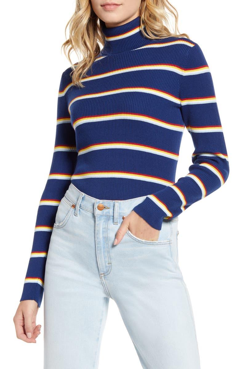 WRANGLER Stripe Ribbed Turtleneck Top, Main, color, BLUE DEPTHS