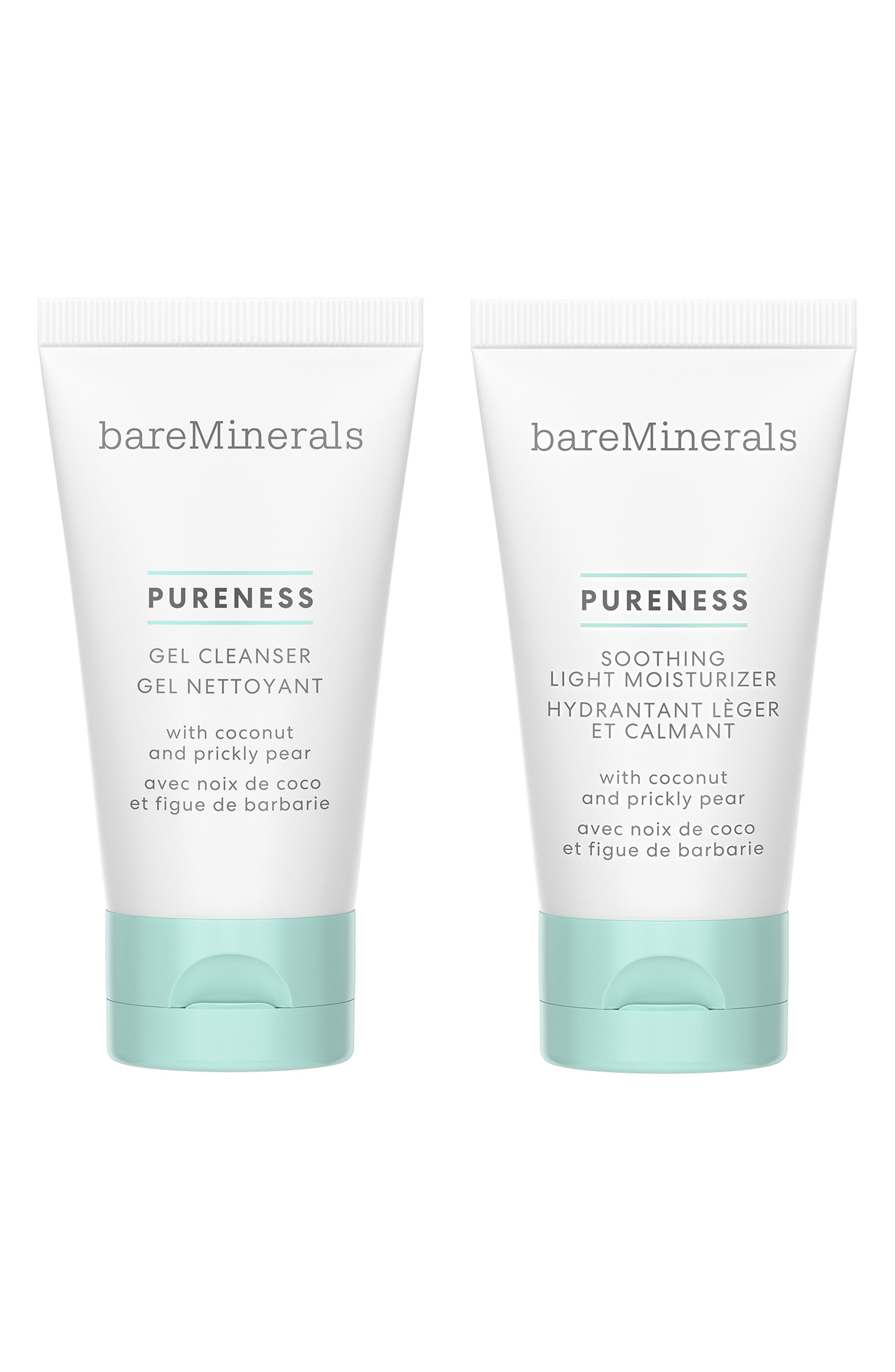 What it is: A limited-edition set featuring travel-size cleansing and hydrating Pureness products by bareMinerals. Who it\\\'s for: All skin types. Set includes:- Travel-size Pureness Gel Cleanser (1 oz.): a daily gel cleanser that gently removes makeup, impurities and excess oil without stripping the skin- Travel-size Pureness Soothing Light Moisturizer (1 oz.): a lightweight daily moisturizer that reduces the look of redness and sensitivity on