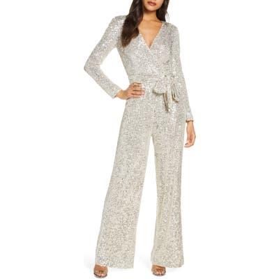 Eliza J Sequin Wrap Front Long Sleeve Jumpsuit, Metallic