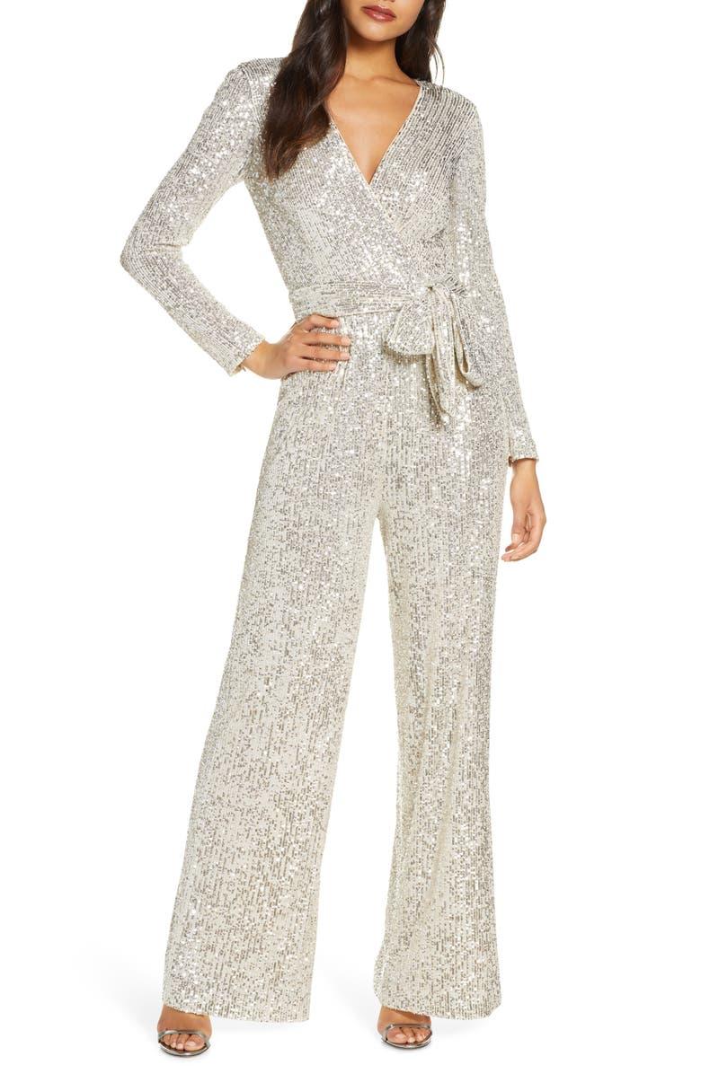 ELIZA J Sequin Wrap Front Long Sleeve Jumpsuit, Main, color, SILVER