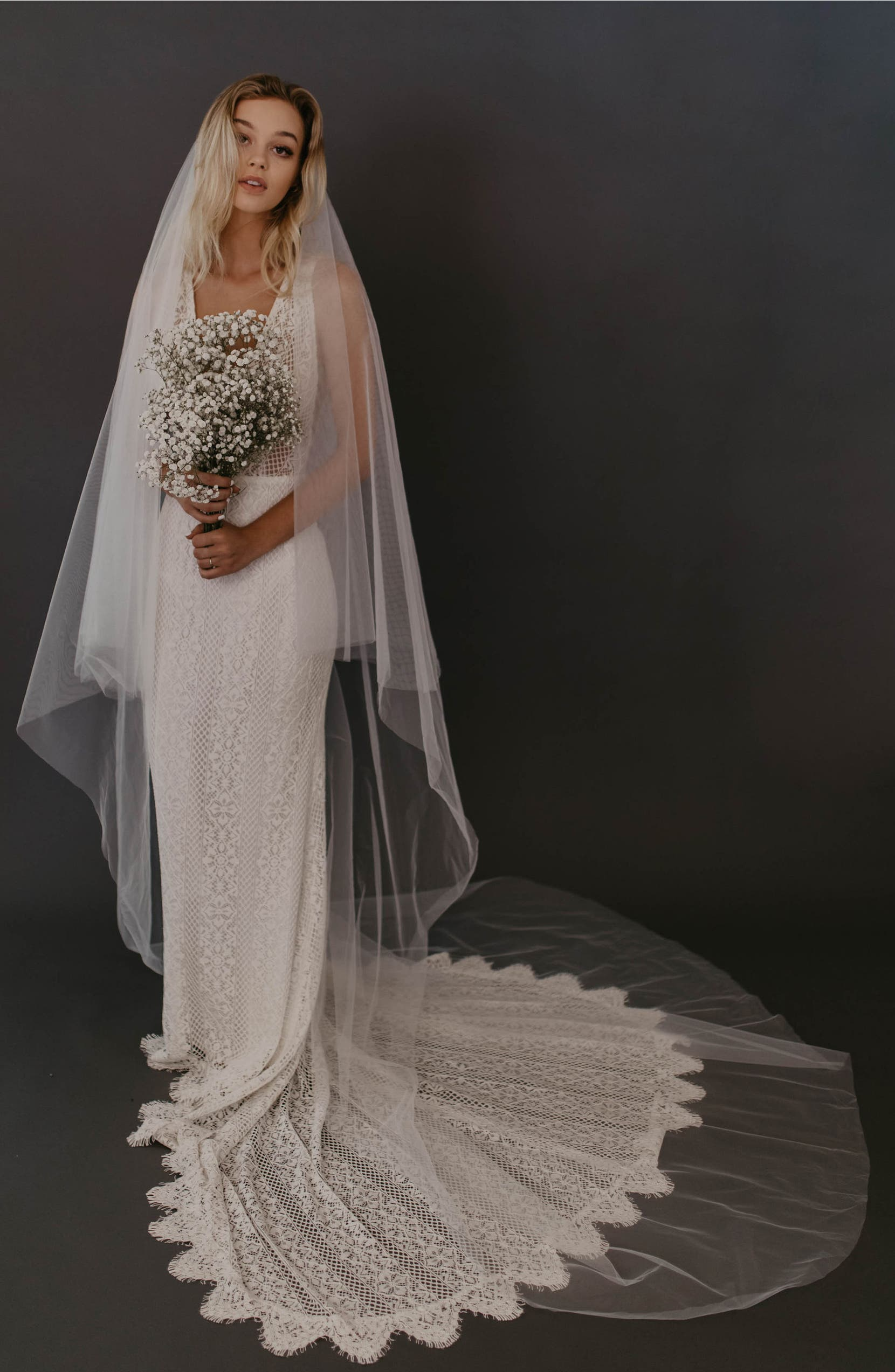 UNTAMED PETALS BY AMANDA JUDGE Jasmine Chapel Veil, Main, color, IVORY