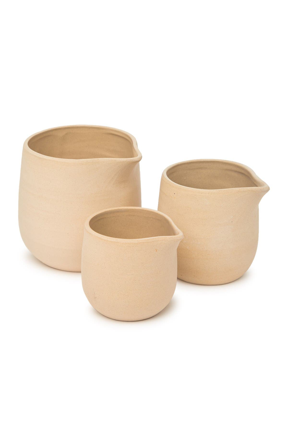 Image of ROOST Safi Stoneware Pitcher - Oat - Set of 3