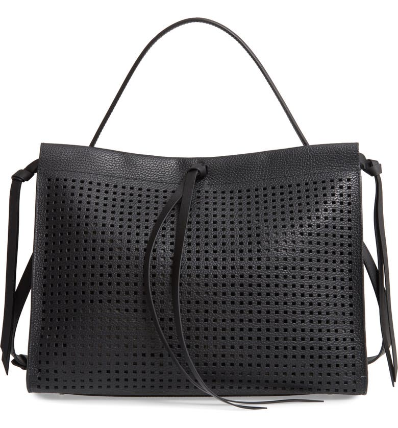 BOSS Katlin Small Perforated Leather Tote, Main, color, BLACK