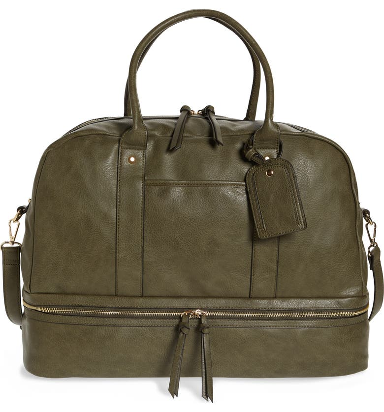 SOLE SOCIETY Mason Faux Leather Travel Satchel, Main, color, OLIVE