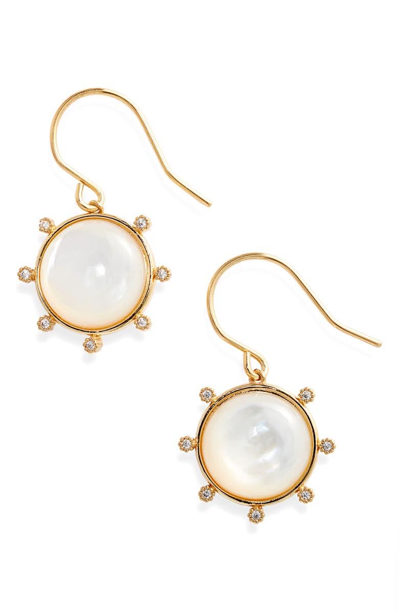 GORJANA Eloise Gemstone Drop Earrings, Main, color, GOLD/ MOTHER OF PEARL