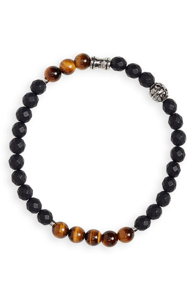 JONAS STUDIO Stone Bead Bracelet, Main, color, BLACK