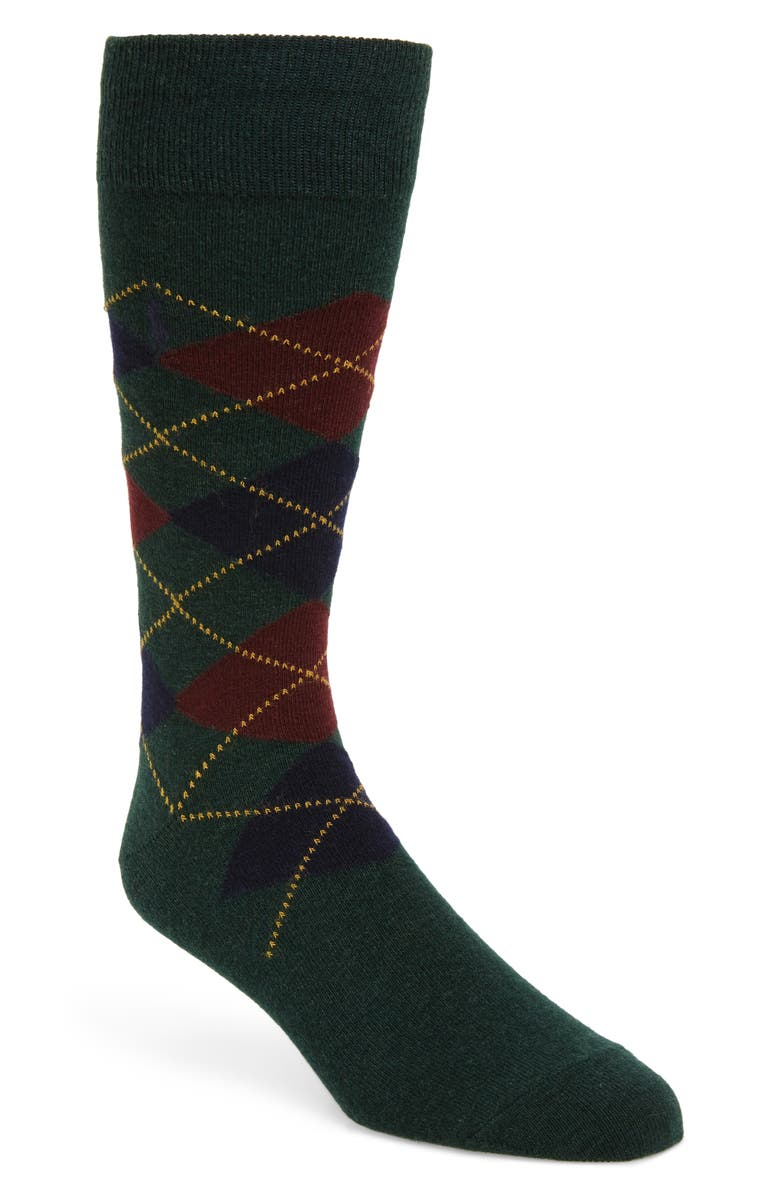 POLO RALPH LAUREN Argyle Dress Socks, Main, color, HUNTER