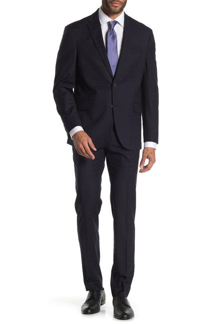 Image of Kenneth Cole Reaction Navy Plaid Two Button Notch Lapel Trim Fit Suit