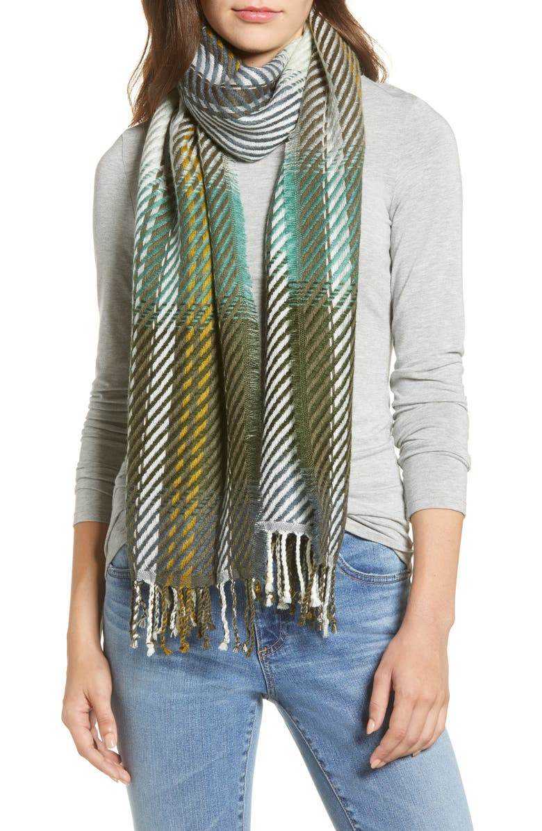 ECHO Ombré Plaid Twill Scarf, Main, color, OLIVE