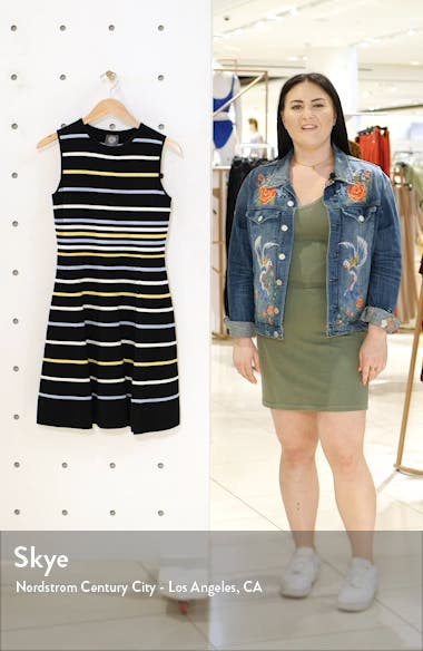 Stripe Fit & Flare Sweater Dress, sales video thumbnail