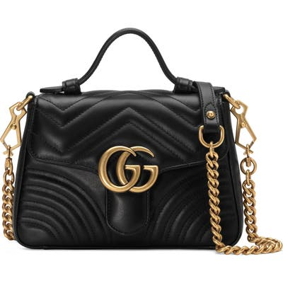 Gucci Marmont 2.0 Leather Top Handle Bag - Black