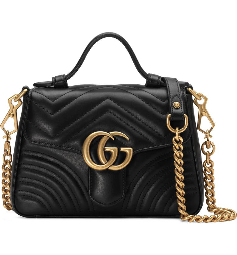 GUCCI Marmont 2.0 Leather Top Handle Bag, Main, color, NERO