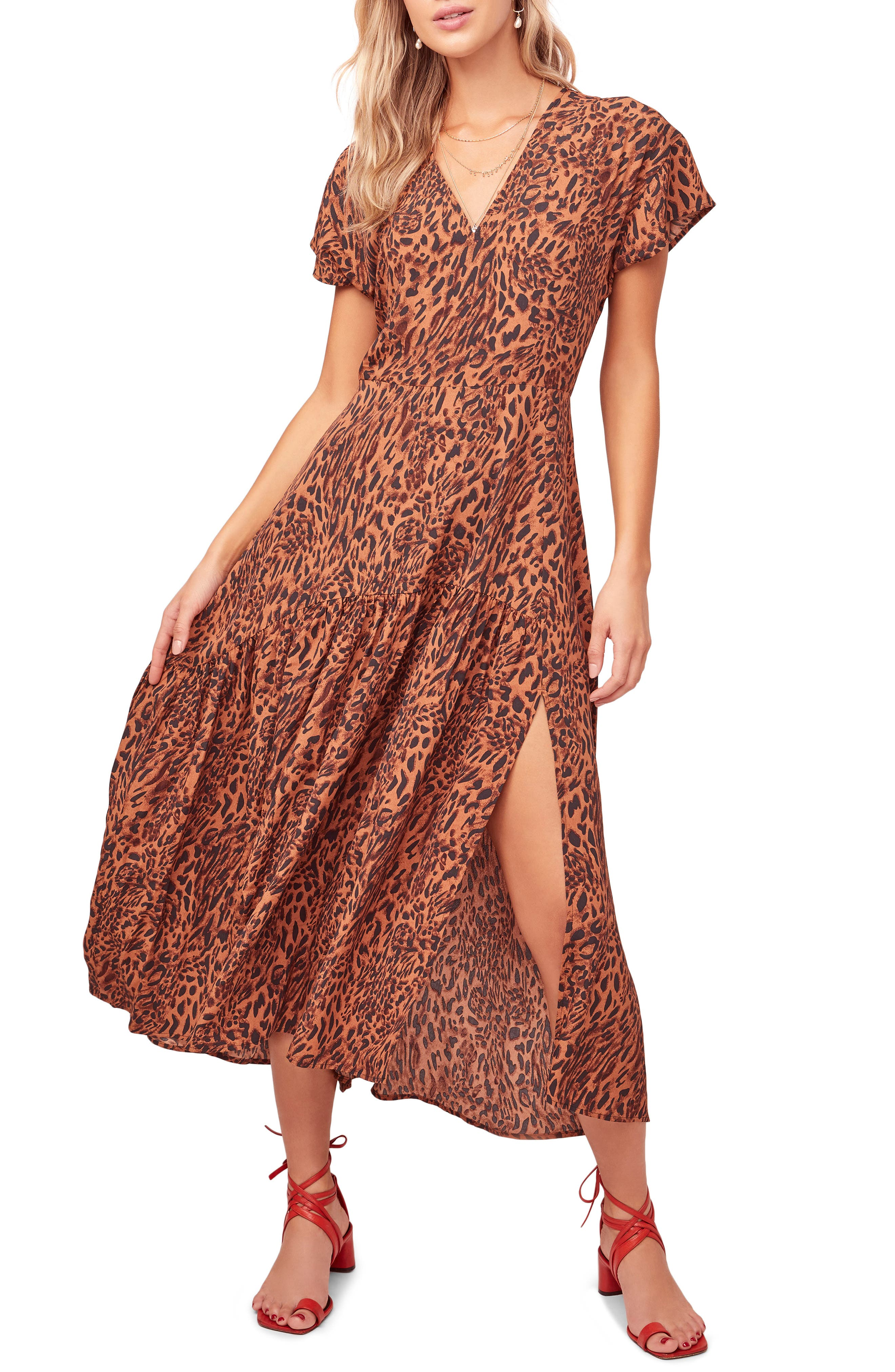 Astr The Label Beau Animal Print Maxi Dress, Brown
