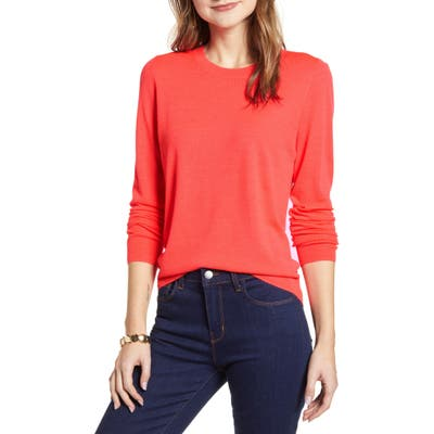 Halogen Crewneck Merino Wool Blend Sweater, Coral