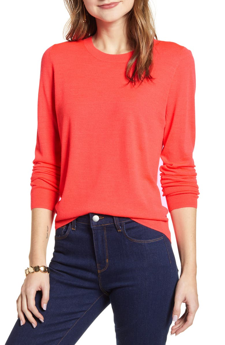 HALOGEN<SUP>®</SUP> Crewneck Merino Wool Blend Sweater, Main, color, CORAL NEON