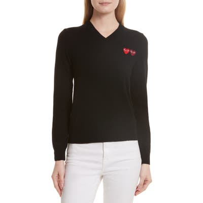 Comme Des Garcons Play Double Heart Wool Sweater