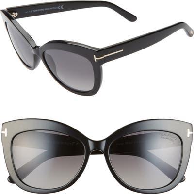 Tom Ford Alistair 5m Polarized Cat Eye Sunglasses - Shiny Black/ Smoke