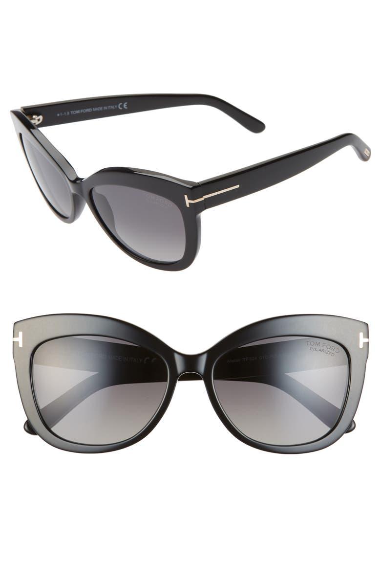 TOM FORD Alistair 56mm Polarized Cat Eye Sunglasses, Main, color, SHINY BLACK/ SMOKE