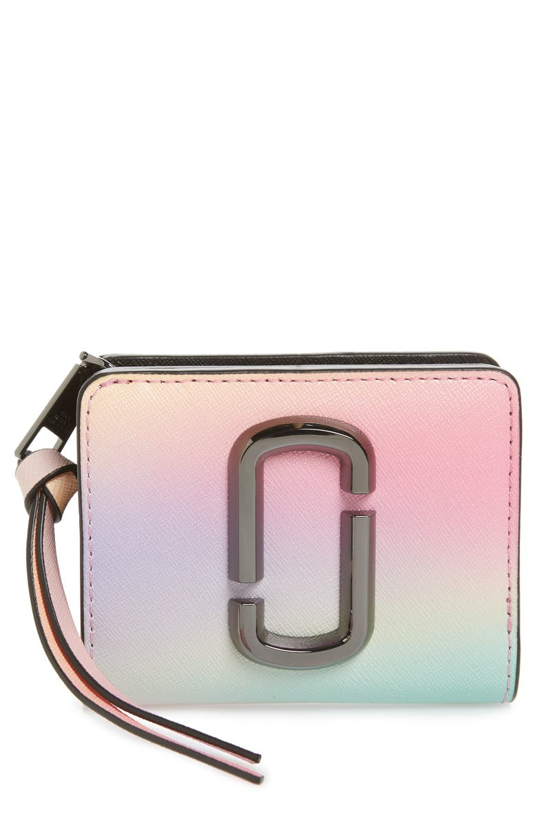 THE MARC JACOBS Snapshot Leather Mini Compact Wallet, Main, color, WHITE