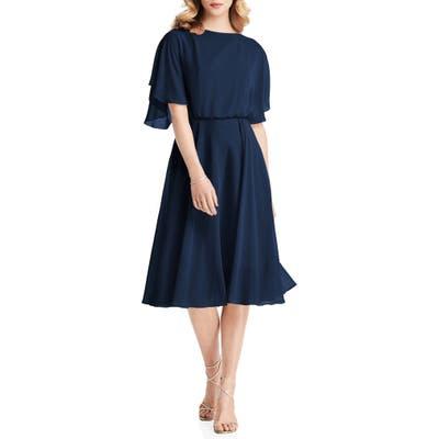 Jenny Packham Flutter Sleeve Open Back Chiffon Cocktail Dress, Blue