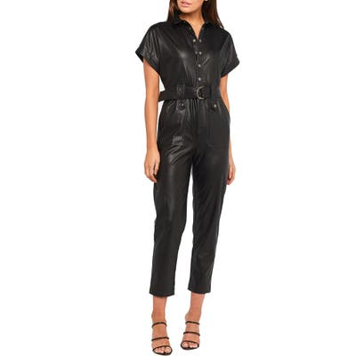 Bardot Faux Leather Belted Jumpsuit, Black