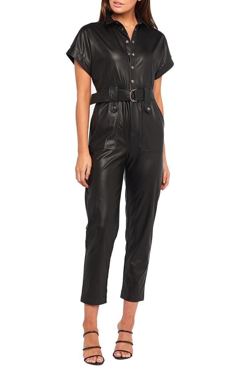 BARDOT Faux Leather Belted Jumpsuit, Main, color, 001